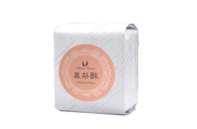 斜紋鋁箔棉袋+鳳梨酥圓型貼紙
